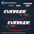 2004 2005 2006 2007 2008 2009 2010 2011 2012 2013 2014 evinrude e-tec ETEC decal set for BLUE 65 HP engines motor cover 65hp