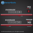 1989 evinrude tracker 70 hp 70hp outboards decals pro series logo Red