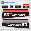 1975 Johnson 50 hp decal set Decals for a Johnson 50 hp 50ES75B, 50ESL75B MOTOR COVER, part number 0387073