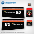 1975 Johnson 85 hp decal set Decals for a Johnson 85 hp 85ESL75E MOTOR COVER, part number 0387073
