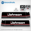 1989 1990 Johnson 20 hp decal set black decals outboards late 80's