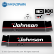 Johnson 1989 1990 30 hp decal set black decals outboards late 80's