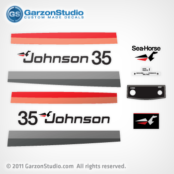 1977 Johnson 35 hp decal set red/black late 70's