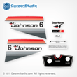 Johnson 6 hp decal set gray/red late 70's made for a Johnson Outboard cowling 1977 custom made, Part Number 388281, JOHNSON 1977 6R77M MOTOR COVER,JOHNSON 1977 6RL77M MOTOR COVER
