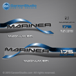 1996 1997 1998 Mariner 175 hp MAGNUM EFI 2.5 litre Decal set decals Blue