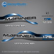 1996 1997 1998 Mariner 175 hp OFFSHORE EFI 2.5 litre Decal set Blue decals