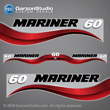 1997 Mariner 60 hp Decal set blue decal set