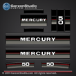 1984 1985 Mercury 50 hp 43538a86 decal set Silver