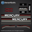 1991 1992 1993 MERCURY 200 hp Offshore 812563A93 DECAL SET (BLACK 200)
