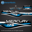 1999 2000 2001 Mercury 175 hp Bluewater 809688A99 decal set