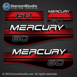 1996 1997 1998 MERCURY 60 hp DECAL SET ELECTRIC MANUAL (BLACK 60) DESIGN III Red 811212A96 37-811212A96 813010A 8 - 816534A 8 TOP COWL ASSEMBLY