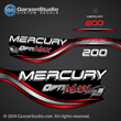 1999 1998 Mercury 200 hp OPTIMAX decal set 855410A98 RED