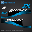 1999 2000 2001 2002 2003 2004 2005 2006 2007 MERCURY 200 hp 200hp for Saltwater optimax decal set BLUE