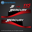 2004 MERCURY 115 hp ELPTO decals sticker stickers 37-823407A00 DECAL SET BLACK 115 - RED 823407A00