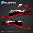 1999 2000 2001 2002 2003 2004 2005 2006 2010 MERCURY 90 hp ELPT 4 4S 37-823417A00 decal set Red MERC BLACK 90 ELECTRIC