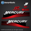 99 00 01 02 03 04 05 06 MERCURY 40 hp decal 2 stroke 2S set red decals 60hp Electric Black 37-811212A00 811212A00