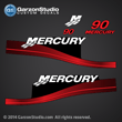 1999 2000 2001 2002 2003 2004 2005 MERCURY 90 hp ELPT 4 4S 37-804857A00 decal set Red MERC BLACK 90 TRACKER