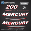 2005 2006 Mercury 200 hp verado four stroke supercharged decal set 200hp decals 4S sticker 895252a05 stickers