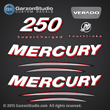 2005 2006 Mercury 250 hp verado four stroke supercharged decal set 250hp decals 4S sticker 895252a05 stickers