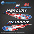 05 06 07 2005 2006 2007 MERCURY 50 hp decal set usa u.s.a. american flag stars and stripes flames flame decal theme decals 50hp