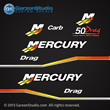 Mercury Racing 1999 2000 2001 2002 2003 2004 2005 2006 50 hp 50hp 50Drag 50 Drag Carb decal set Mercury racing decals for your motor cowling Custom Built by Mercury Racing M logo decals kit sticker stickers