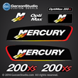 2002 2003 2004 Mercury Racing 200 hp Opti Max 200xs decal set