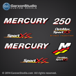 Mercury Racing 2006 2007 208 2009 2010 2011 2012 225 hp 250hp 250xs 250 xs Optimax sport xs decal set Mercury racing decals for your Optimax motor cowling sport xs direct injection Custom Built by Mercury Racing M logo decals kit sticker stickers