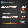 Mercury Racing 2006 2007 208 2009 2010 2011 2012 135 hp 135hp 135xs 135 xs Optimax 3.2 stroker decal set Mercury racing decals for your Optimax motor cowling  direct injection Custom Built by Mercury Racing M logo decals kit sticker stickers