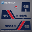 Nissan outboards decals NS15B2 1985 1986 1987 1988 1989 1990 1991 1992 1993 1994 1995 1996 1997 1998 1999 2000 2001 2002 15 hp 15hp