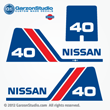 1988, 1990 NISSAN 40hp Outboard Decal set