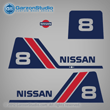 Nissan outboards decals NS8B 1985 1986 1987 1988 1989 1990 1991 1992 1993 1994 1995 1996 1997 1998 1999 2000 2001 2002 8 hp 8hp