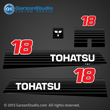 90 91 912 93 94 95 96 97 98 99 00 01 02 Tohatsu Outboard Decal set 18 hp 18hp mc18c2 mc18