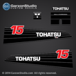 Tohatsu Outboard Decal Tohatsu M15C M15CEF M15CEP 2-stroke carburated Decal set for 1990 1991 1992 1993 1994 1995 1996 1997 1998 1999 2000 2001 2002 and earlier 15hp outboards