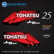 Tohatsu 25 hp 25HP JET DRIVE decal set red 5hp decals 2002 2003 2004 2005 2006 2007 2008 2009 2010 2011 2012 2013 2014 logo sticker stickers