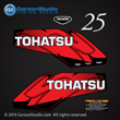 Tohatsu 25 hp 25HP decal set red 5hp decals 2002 2003 2004 2005 2006 2007 2008 2009 2010 2011 2012 2013 2014 logo sticker stickers