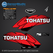 Tohatsu 4 hp 4HP m4c decal set red 4hp decalS 2002 2003 2004 2005 2006 2007 2008 2009 2010 2011 2012 2013 2014 logo sticker STICKERS
