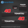 Tohatsu Outboard Decal 2002 - early Tohatsu 40hp Decal set M40D M40d2 decals